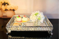 39 26cm Rectangle Decorative Crystal Tray Serving Tray Glass Fruit Bowl Tray For Food Decorative Serving
