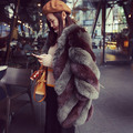 VV double-color joining together! Han edition 2015 winter fashion double-color import fox fur fur