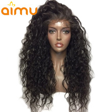 Brasileiro molhado e ondulado peruca 130% densidade virgem glueless cheia do laço perucas de cabelo humano pré arrancado cabelo do bebê para afro-americanos