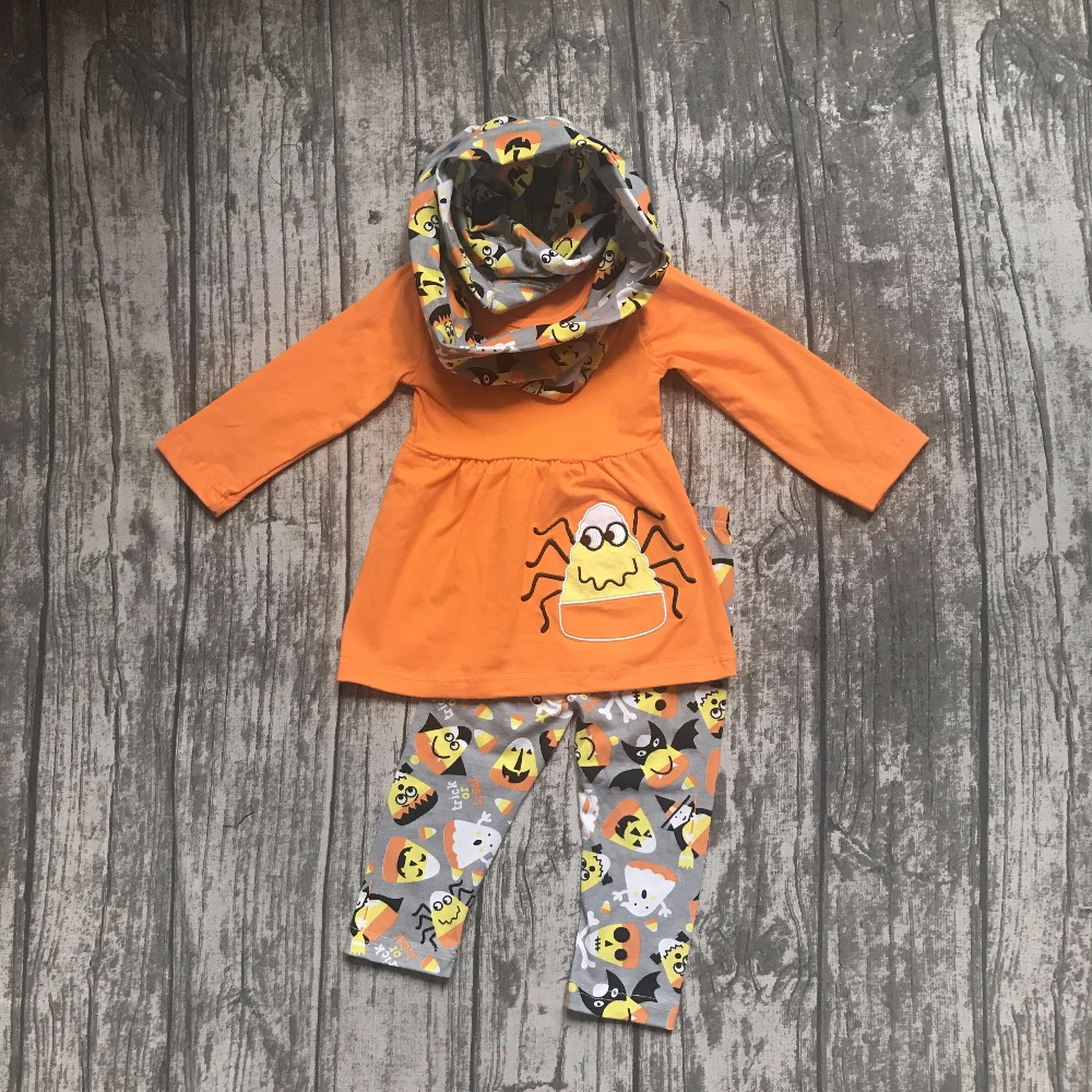 baby girls fall winter halloween spider corn 3 pieces scarf orange pant cotton print boutique. Black Bedroom Furniture Sets. Home Design Ideas