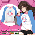 Game OW D.VA color contrast Long sleeve Front Cut irregular shape cosplay sweatshirt top hoodie shirt in stock free shipping