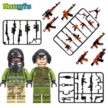 LegoINGLY Military SWAT Police Gun Weapons Army Soldiers Building Blocks Bricks City Compatible With Legoes Action toys kids Солдат