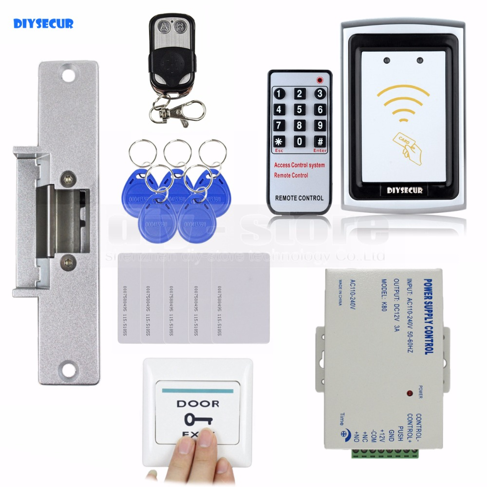 DIYSECUR Strike Lock 125KHz RFID Reader No Keypad Controller Door Access Control Security System Full Kit Set K75EM diysecur 125khz rfid metal case keypad door access control security system kit electric strike lock power supply 7612
