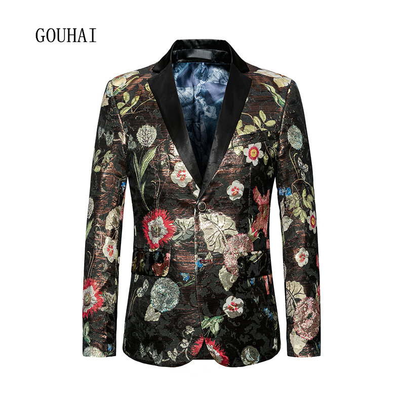 2019 Fashion Suit Men Blazer Masculino Slim Fit Blazer Mens Plus Size 6XL Single Breasted Mens Floral Blazer Male High Quality