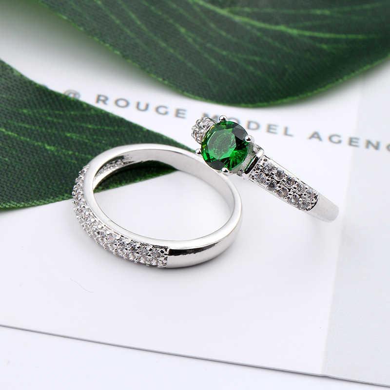 แฟชั่น Olive สีเขียวคริสตัลแหวน Zircon สำหรับผู้หญิงผู้ชายแหวนหมั้นแหวนคู่สีขาวทอง CZ Birthstone เครื่องประดับ Anel