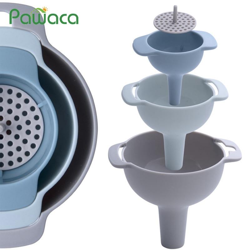 4 en 1 multi-fonction Canning entonnoir Set large bouche en plastique entonnoir filtre huile Pot liquides Pour huile ménage cuisine accessoires