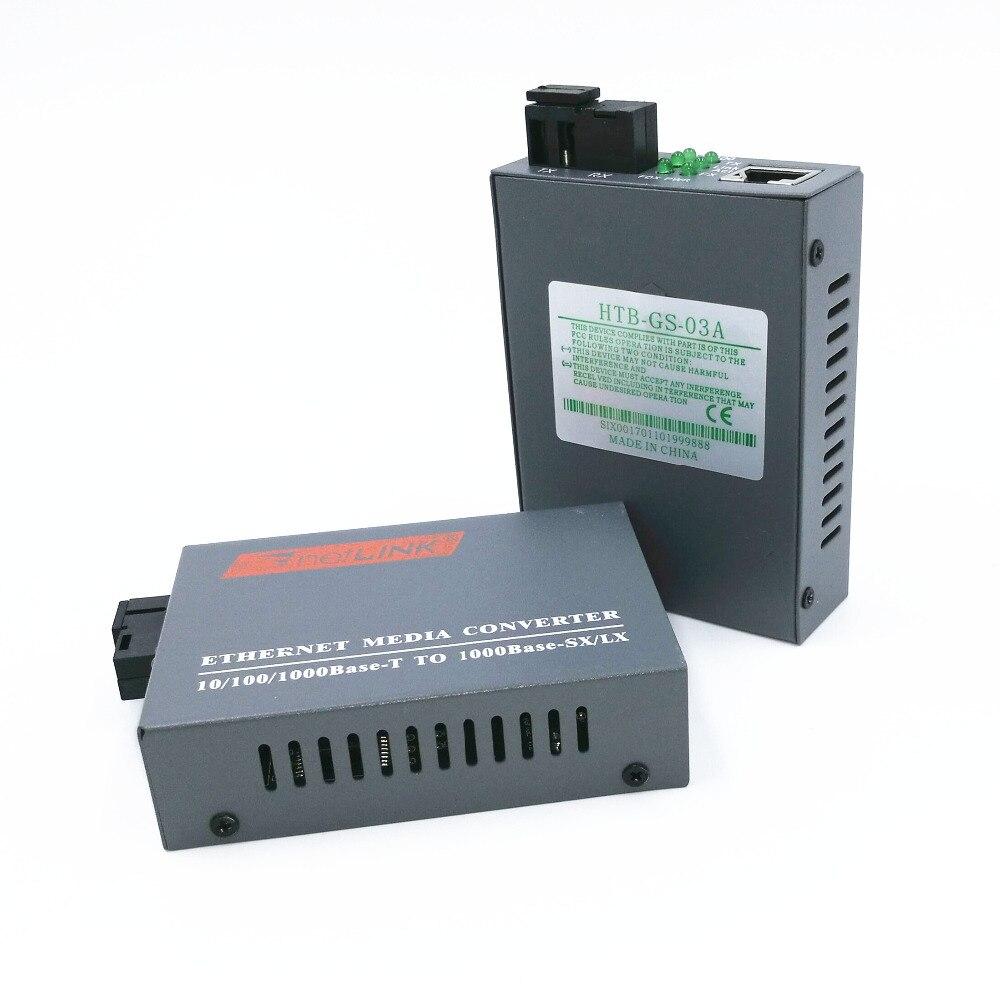1 Pair HTB-GS-03 A/B Gigabit Fiber Optical Media Converter 1000Mbps Single Mode Single Fiber SC Port External Power Supply