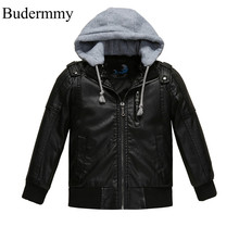 Hat Jacket for Boys Leather Jackets Black Soft New Fashion Winter Coats for 3 4 5 6 8 10 12 Years Boy Kids Clothes Windbreaker