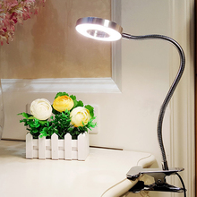 Ledデスクランプクリップ5ワットフレキシブルled読書ブックのベッドサイドランプのオフィステーブルライトus/euプラグコールド/ウォームライトledナイトライト