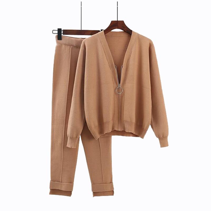 Rlyaeiz 2018 Autumn New 2 Piece Set Women Sporting Suits Knitting Cardigan + Ankle-length Pants Sporting Wear Female Tracksuit