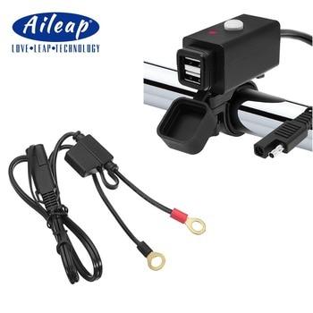 Aileap, Adaptador Dual de cargador USB impermeable para motocicleta con conector rápido SAE y interruptor de alimentación 5V, puerto de alimentación de carga inteligente