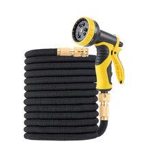 Garden Hose New Telescopic Water Pipe Double Latex Core Hose Solid Brass fitting Plastic Nozzle Fabric – Elastic flexible Hose(China)