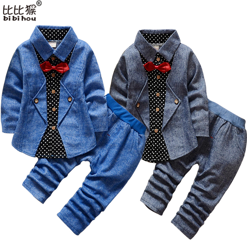 1-5yrsNew Baby Boy Girls Clothes Spring Kids Clothes Gentleman Toddler Suit 2Pcs Boys Clothing Set Boy clothes Children clothing baby boys clothes set 2pcs kids boy clothing set newborn infant gentleman overall romper tank suit toddler baby boys costume