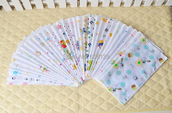 Lovely single layer high quality 35*35 cm cotton baby Saliva towel gauze handkerchief 50pcs/lot free shipping