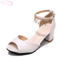 Chainingyee party style sexy peep toe summer sandals fashion chains rhinestone white pink pink blue med heels women's shoes
