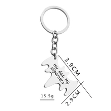 My dad my super hero Keychains Letter bat shape Keyrings simple car Key Finder fathers day gift for father daddy