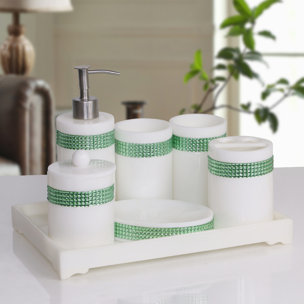 Modern bathroom set five-piece set High-end mouthwash wash creative bathroom supplies kit pure white green beads LO724143 south shore 3 piece bookcase set in pure white