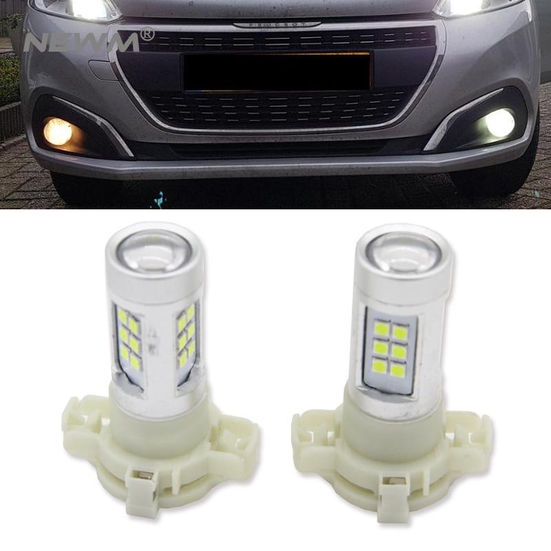 White PSX24W 3030 LED DRL Car Fog Light Bulb For Subaru Impreza VW Polo Golf 4 5 Tiguan Routan Ram Dakota for Toyota Corolla