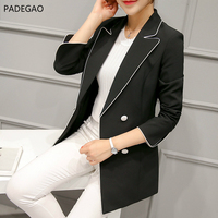 PADEGAO Women Black Slim Fit Blazer Jackets Notched Office Work Blazer Outfits Casual Tops Long Sleeve