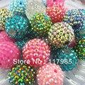 100 Unids Beads Bubblegum Chunky Rhinestone de la Resina Granos de la Bola Redonda 14mm 16mm 18mm 20mm 22mm para la Fabricación de Collar de La Joyería