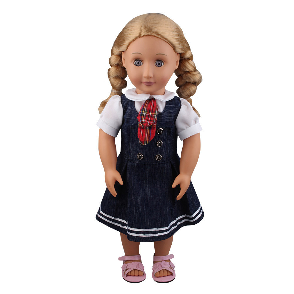 2PC Student doll accessories clothes for dolls 18 inch Denim Dress Uniform Outfit For 18 inch American Girl Doll