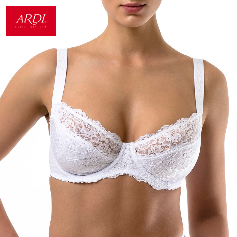 ARDI Woman's Bra Lace White Large Soft Cup Cotton Lining Big Breast Bras for Women Plus Size Underwear 80 85 90 C D E R2710-12