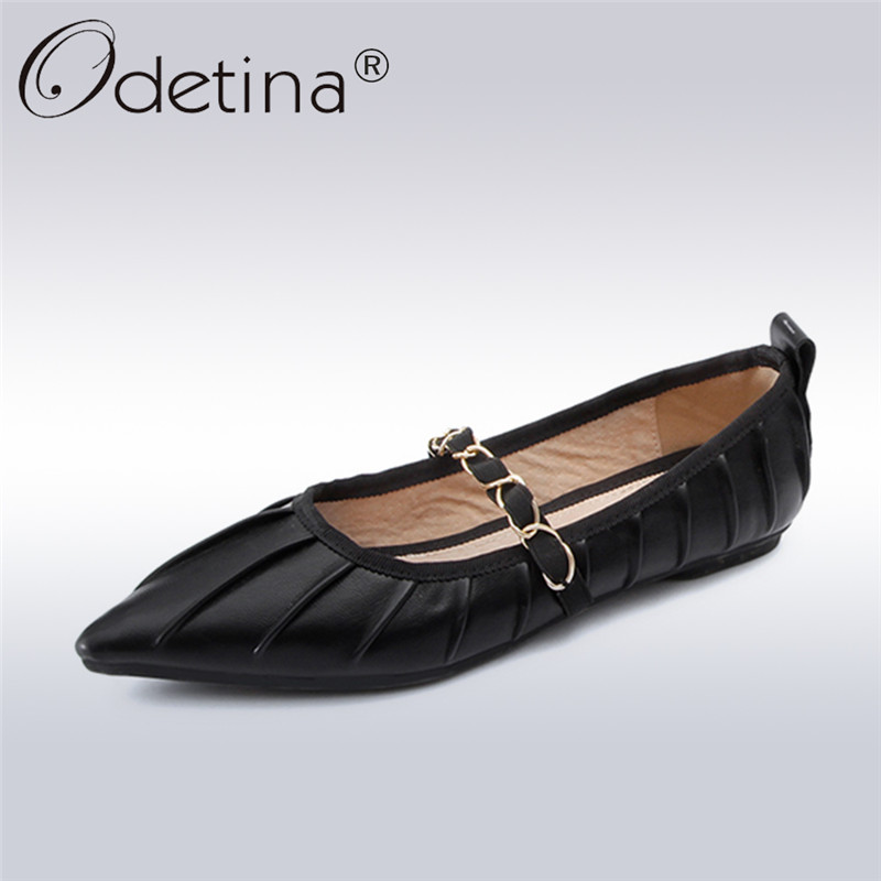 Odetina 2018 New Fashion Women Sweet Flats Genuine Leather Pointed Toe Slip On Slouch Shoes Metal Decoration Soft Sole Leisure pu pointed toe flats with eyelet strap