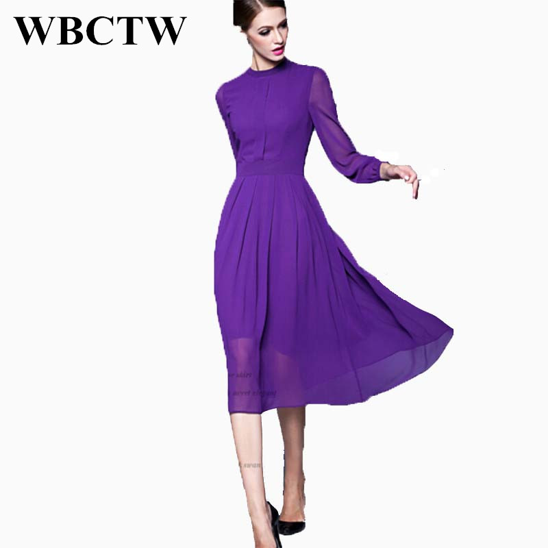fa162a840abf WBCTW Midi Length Dress For Work Long Sleeve Solid Purple High Waist Plus  Size Dress Elegant Spring Summer Woman Chiffon Dress