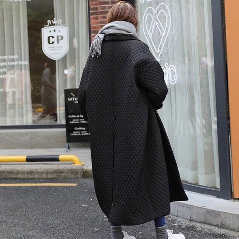 Mode Manteau Parka Veste Qualité Long Vestes Ample Oversize De Haute 2018 Noir Femmes Basique Hiver Outwear Simple Boutonnage pqwBngS7x