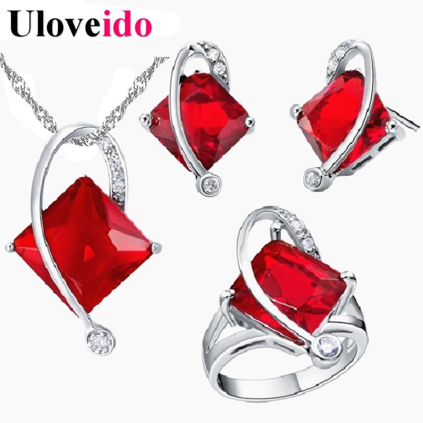 107f4e4288b 50% off 5 colores rojo boda Decoración color plata Juegos de joyería para  novia neckace Pendientes anillo Africana Cuentas joyería t295