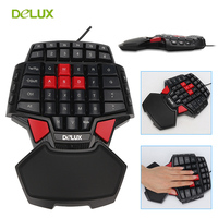 Delux T9 Single Hand Professional PC Game Keyboard Gamer USB Wired Mini Portable Game Key Board 47 Keys Double Space CF CS LOL