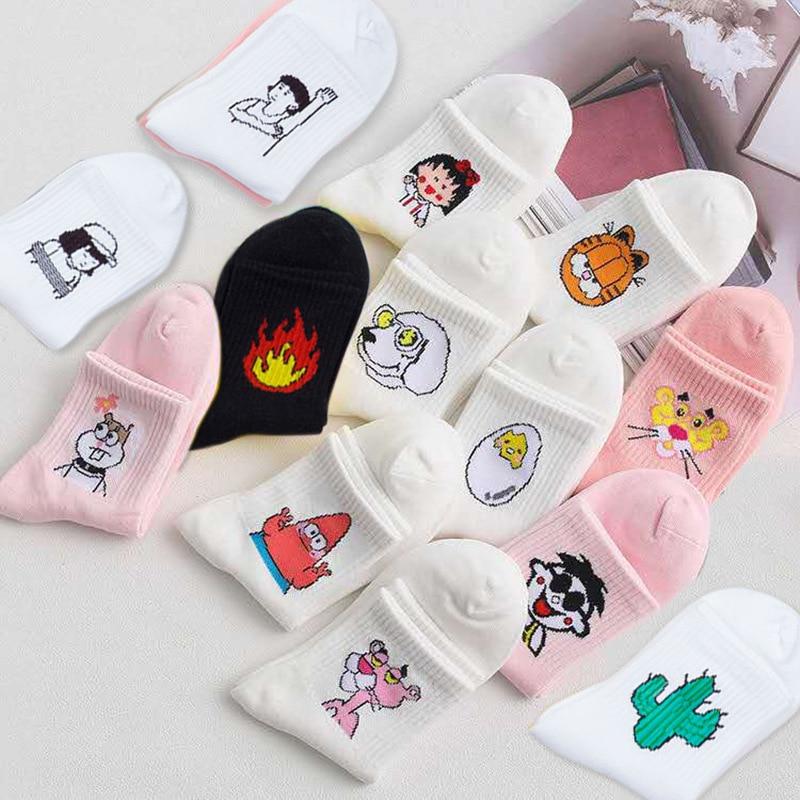 Fashion Korea Style Women Socks Cartoon Animal Flame Socks Calcetines Mujer Cotton Lovers Socks Humorous Jokes Skarpetki