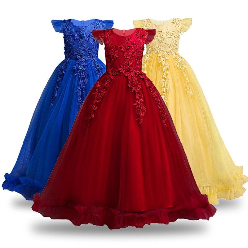 100% Wahr 4-14 Jahre Kinder Kleid Für Mädchen Hochzeit Tüll Spitze Lange Mädchen Party Kleid Elegante Prinzessin Pageant Formale Kleid Für Teen Mädchen