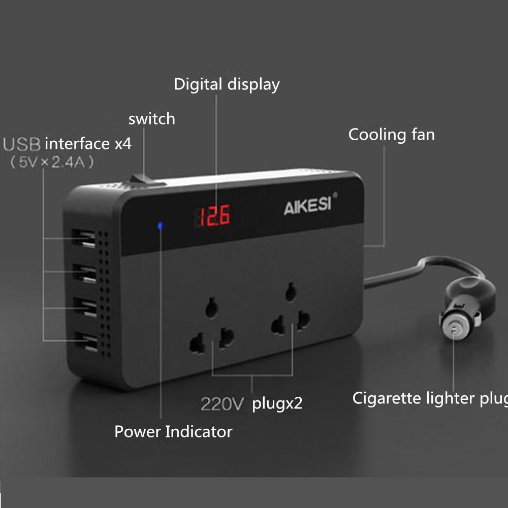 Partol Multifunktionale Auto Inverter Auto Inverter 12 v Zu 220 W 220 v 50Hz 12 220 Zigarette Leichter Stecker power Converter Mit 4 USB