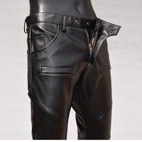 Uomini caldi Nuovo Cuciture In Pelle Pantaloni Maschili Sottile Matita Pantaloni di Modo Coreano Moto Autunno Inverno Personalità del Cono pantaloni