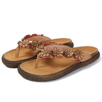 Women's sandals and slippers summer leather fashion wear beach tendon non slip flat bottom casual flip flops