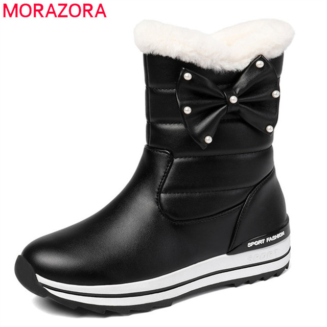 MORAZORA 2020 neue ankunft frauen stiefeletten wasserdicht nicht slip schnee stiefel warm halten einfach casual winter stiefel frau flache schuhe