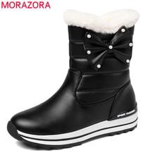 MORAZORA 2020 جديد وصول النساء حذاء من الجلد مقاوم للماء عدم الانزلاق الثلوج الأحذية الدفء بسيطة أحذية الشتاء غير رسمية امرأة حذاء مسطح