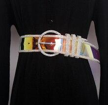 Лучший!  женские прозрачные лазерные алмазы ПВХ широкие ремни женские летние фиолетовые блестящие рубашки