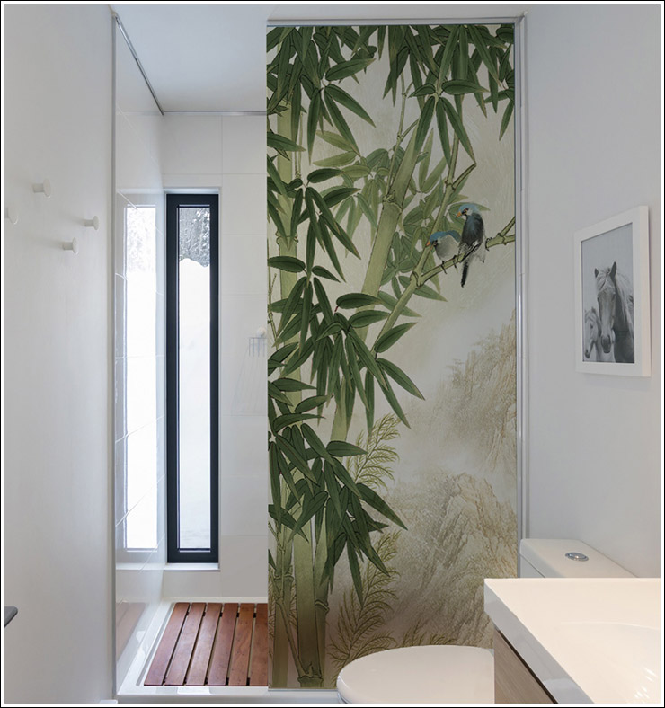 Customized Windows Glass Film Stickers Self Adhesive Static Cling Without Glue Bamboo Forest For Bathroom Door