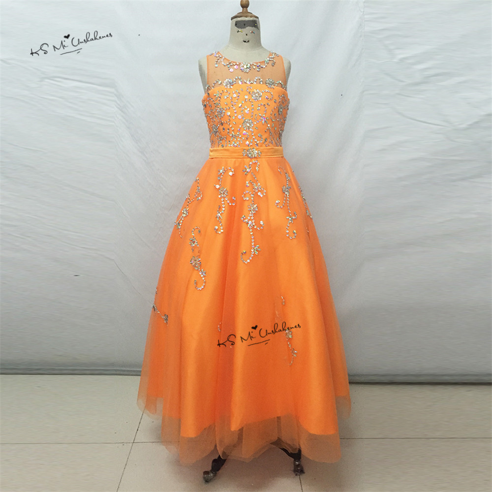 Vestido de Daminha Sweet Orange Ball Gown Pageant Dresses for Little Girls Bridesmaid Dress 2017 First Communion Dresses Beaded