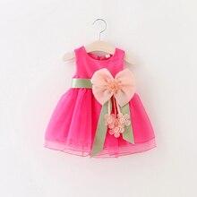 0-24M Flower Baby Girl Dress New Born Infantil Summer Dress Bow Sleeveless Cotton Christening Dress 1 Year Birthday Dress D35