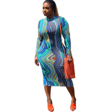 Autumn and winter womens fashion Slim sexy dress print O-neck full sleeve casual bandage nightclub