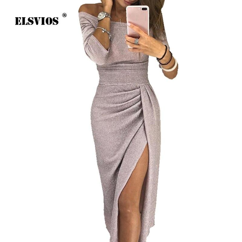 ELSVIOS Frauen Helle Seide Shiny Bodycon Kleid Sexy Off Schulter Party Kleid Herbst Hülse Mit Drei Vierteln Elegante Midi Kleider