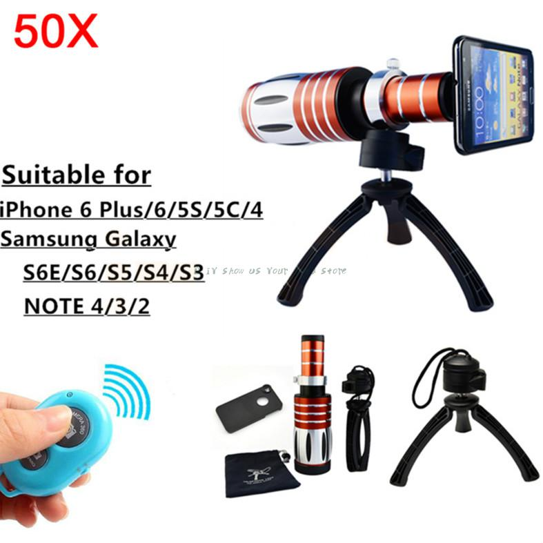 Bluetooth Control Shutter 50X Metal Telephoto Zoom Tripod Lentes Telescope For Samsung Galaxy S3 S4 S5 S6 note 2 3 Camera Lens image