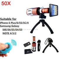 Bluetooth Control Shutter 50X Metal Telephoto Zoom Tripod Lentes Telescope For Samsung Galaxy S3 S4 S5 S6 note 2 3 Camera Lens