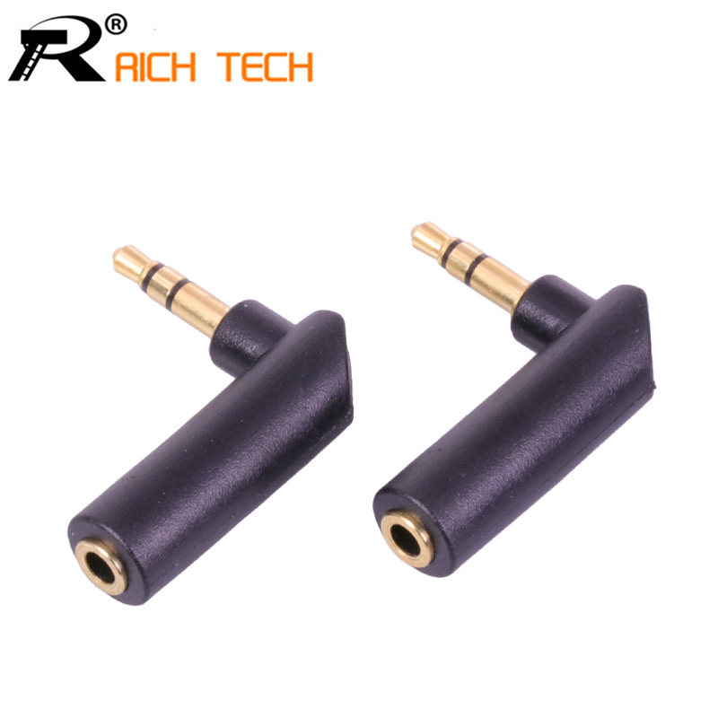 1PC Gold-plated Connector 3.5 Jack Right Angle Female To 3.5mm 3Pole Male Audio Stereo Plug L Shape Jack Adapter Connector