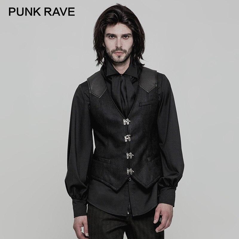 PUNK RAVE Steampunk métal Rock boutons Twill hommes gilet gilet en cuir PU réglable bande poches réservoir hauts noir fête t-shirts