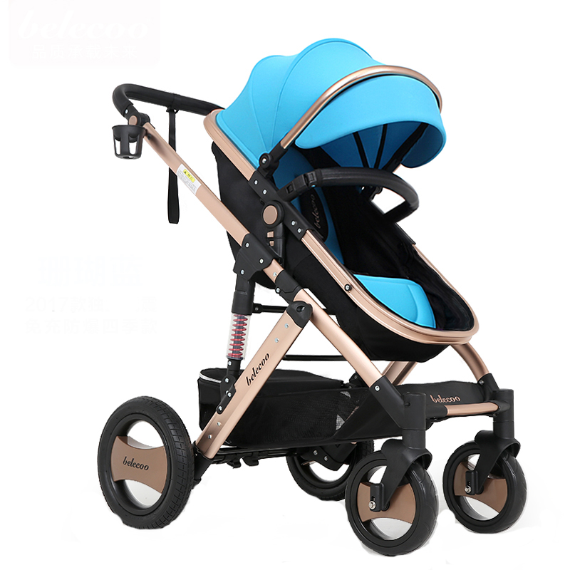 Belecoo bebe Baby Stroller High Landscape Car Can Sit Down Two Handcart Shockproof Carrier brand four wheel folding baby strolle