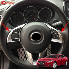 Для Mazda 6 Atenza GJ 2013 хромированная панель рулевого колеса, кнопка включения, накладка, наклейка, украшение автомобиля, Стайлинг